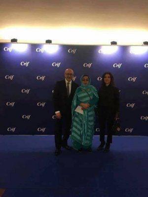 L'ambassadrice mauritanienne entouré du président du CRIF et l'une de ses collaboratrices